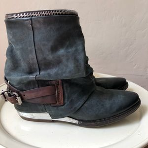 A.S. 98 Distressed Suede Moto Ankle Boots